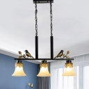 Flared Dining Table Drop Pendant Vintage Frosted Glass 3 Heads Black Hanging Island Light with Bird Decor
