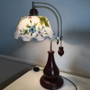 Red Brown Floral Night Table Light Antiqued White Glass 1-Light Bedroom Night Lamp