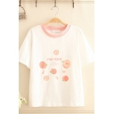 Preppy Girls White Short Sleeve Round Neck Letter PINK PEACH Peach Graphic Relaxed Fitted Tee Top