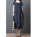 Retro Leisure Navy Short Sleeve Round Neck Stringy Selvedge Linen Ruched Plaid Print Patchwork Maxi Oversize Dress
