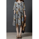 Retro Fashion Womens Half Sleeve Round Neck All Over Flower Print Cotton and Linen Midi Pleated Swing Dress