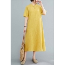 Chinese Style Womens Linen and Cotton Short Sleeve Mandarin Collar Frog Button Detail Maxi Plain A-Line Dress
