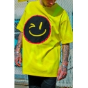 Fluorescent Color Letter V Smile Face Graffiti Graphic Short Sleeve Crew Neck Label Panel Oversize Tee Top for Boys