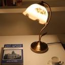 Flower Print White Glass Table Light Vintage 1 Light Study Room Reading Lamp in Brass