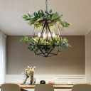 Geometric Cage Iron Chandelier Warehouse 3 Lights Dining Table Plant Ceiling Pendant in Black