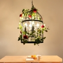 4-Light Iron Suspension Pendant Cottage Black Birdcage Bistro Chandelier with Pink/Green Rose Decoration