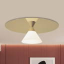 Frosted Glass Cone Flush Light Postmodern 1 Head Ceiling Mount Lighting with Gold Disc Top
