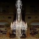 Draped Clear Crystal Hanging Lamp Traditional 10-Light Living Room Pendant Chandelier