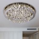 Modernist Waterdrop Flush Lighting LED Crystal-Drip Flush Mount Ceiling Lamp in Nicke
