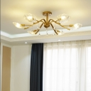 6/8-Bulb Semi Flush Ceiling Light Traditional Living Room Flushmount Lamp with Shell Clear Crystal Glass Shade in Gold