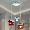 Cabin Cluster Pendant Light Cartoon Metal 3 Heads Nursery School Hanging Lamp in Red-Yellow-Blue
