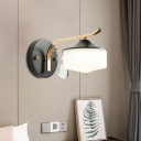 Milk Glass Drum Wall Light Sconce Modernist 1 Light Black and Gold LED Wall Lamp with Crystal Drop