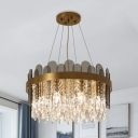 Gold 8/12-Bulb Hanging Chandelier Retro K9 Crystal Drum Pendant Light Fixture over Dining Table