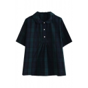 Vintage Girls Plaid Pattern Short Sleeve Peter Pan Collar Button up Relaxed Fit Shirt in Navy