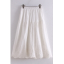Fashionable Womens Linen and Cotton Solid Color Elastic Waist Scalloped Lace Trim Ruffled Trim Midi Pleated A-Line Skirt