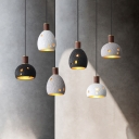 1 Light Pendant Light Industrial Style Restaurant Hanging Lamp Kit with Dome Resin Shade in White/Black/Grey, 6.5