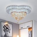 Faceted Crystal White Ceiling Flush Heart Shape LED Contemporary Flush Mount Lighting