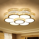 Floral Living Room Flushmount Contemporary Crystal LED Gold Ceiling Light Fixture, 19.5