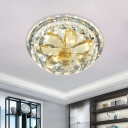 Gold Petal Ceiling Light Fixture Modern Clear and Amber Crystal LED Living Room Flush Mount