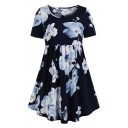 All over Flower Printed Short Sleeve Round Neck Casual Midi Pleated Swing Dress for Women