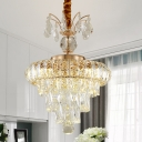 Tiered Kitchen Chandelier Lamp Contemporary Clear Cut Crystal 12