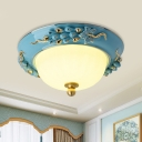 LED Opal Glass Flush Mount Lighting Pastoral Style Yellow/Blue Bowl Shade Ceiling Light with Ceramic Fruit/Flower Design, 12