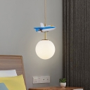 Sphere Pendant Ceiling Light Kids Gradient Blue/White Glass Single Nursery Suspension Lamp with Aircraft Decoration