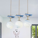 White/Blue Glass Cluster Ball Pendant Kid 3 Bulbs Hanging Lamp with Plane Decoration over Table