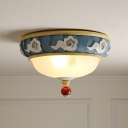 Macaron Cloud-Edge Bowl Flush Light Opaline Glass 3 Heads Bedroom Ceiling Mount Lamp in Blue