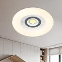 Round/Flower Bedroom Flush Mount Lamp Acrylic LED Kids Close to Ceiling Lighting Fixture in White