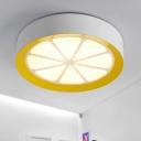 Lemon Acrylic Ceiling Light Fixture Creative LED White Flush Mount Lamp in Warm/White Light for Bedroom
