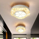 White Circle Ceiling Mounted Light Simple Clear K9 Crystal LED Entry Flush Mount Lighting