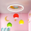 Pink Dome Semi Flush Mount Kids 3 Bulbs Colorful Glass Flush Light with Moon and Rabbit Pattern