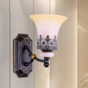 Milky Glass Black Wall Mounted Lighting Conical 1-Head Classic Style Surface Wall Sconce with Flower and Leaf Pattern