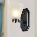1/2 Heads Wall Sconce Light Traditional Black Finish Frosted Glass Wall Mount Lamp with Wavy Design