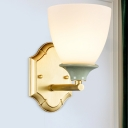 Gold 1 Head Wall Lighting Rustic Milky Glass Bowl Shade Wall Mount Light Fixture for Bedroom