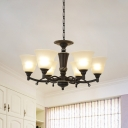 Frosted Glass Bell Chandelier Countryside 6/8-Light Living Room Ceiling Pendant in Black with Twisted Arm