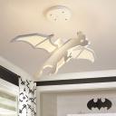 White Flying Dragon Ceiling Chandelier Cartoon LED Metal Suspension Lamp in Warm/White Light