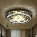 Simplicity Ring Flushmount Lighting LED Crystal Flush Light in Chrome with Star Design