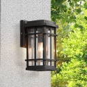 Seedy Glass Rectangle Sconce Light Lodge 1 Bulb Courtyard Wall Mounted Lamp in Black with Frame