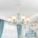 6/8 Bulbs Chandelier Lamp Pastoral Living Room Pendant Light with Flared Clear Dimpled Glass Shade in Blue