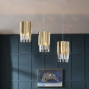 Prismatic Crystal Cluster Cuboid Pendant Postmodern 3 Lights Dining Table Suspension Lamp in Gold