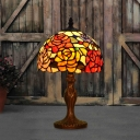Bronze 1-Light Table Lamp Mediterranean Stained Glass Dome Nightstand Light with Flower Pattern