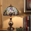 Brown Domed Table Lighting Victorian 1-Bulb Stained Art Glass Night Lamp with Butterfly Pattern