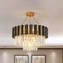 Post-Modern 2 Tiers Chandelier 9 Lights Clear Crystal Pendant Lighting Fixture in Black and Gold