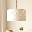 Fabric Drum Pendant Lighting Nordic 1 Head White Hanging Lamp with Butterfly Design