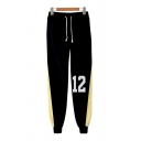 Cool Boys Number 3D Cosplay Printed Contrasted Drawstring Waist Ankle Length Cuffed Tapered Fit Sweatpants in Black