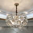8 Lights Faceted Oval Crystal Chandelier Modern Clear Round Hotel Ceiling Hanging Light