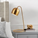 Brass Finish Bell Table Light Post-Modern 1 Head Metallic Nightstand Lamp with Twisted Rod Base