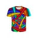 Allover Colorful Geometric 3D Printed Short Sleeve Crew Neck Regular Fit Chic T-shirt in Red